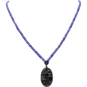 SALE Natural Tanzanite, Old Mine Diamond,18KT Gold & Sterling Silver Necklace