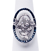 SALE Blue and White Diamonds Butterfly Art Ring in 14KT White Gold
