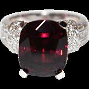 SALE Natural Rubellite Raspberry Pink Tourmaline and Diamond Ring in Platinum