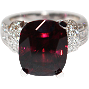 SALE Natural Rubellite Raspberry Pink Tourmaline and Diamond Ring in Platinum