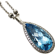 SALE 35 CT Swiss Blue Topaz Diamond Pendant Necklace 14KT Gold