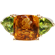 SALE Handmade Custom Natural Rarest Orange Tourmaline and Peridot Ring in 14KT Gold