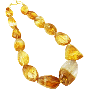 SALE Natural Citrine Checkerboard Cut Free Form shape in Sterling Silver Necklace