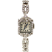 SALE 1.5 CT One of a Kind Collectible 14KT White Gold Diamond Vintage Wristwatch