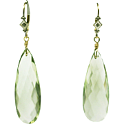 SALE 14KT Gold Diamond Stunning Hand Set 35CT Natural Green Amethyst Earrings