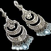 SALE Handmade Natural Aquamarine Blue Topaz Chandelier Earrings 14KT Gold