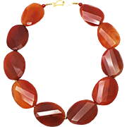 SALE Natural Carnelian Handmade Sterling Silver Necklace