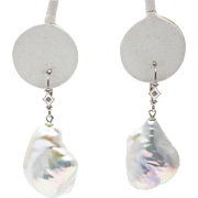 SALE Huge Stunning Hand Set Cultured Keshi Pearls 14 KT White Gold Diamond Earrings