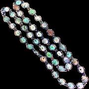 SALE Natural Multi-Color Sapphire Slice Bezel Set Sterling Silver Necklace