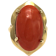 SALE Natural Italian Red Coral Ring in 14KT Gold