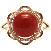 SALE Natural Red Italian coral Diamond Ring in 18KT Rose Gold