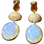 SALE Handmade Natural Yellow Sapphire and 19 CT Ethiopian opal Earrings in 14KT Gold