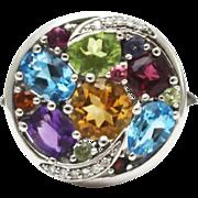 SALE Natural Peridot, Rhodolite, Citrine, Blue Topaz, Garnet, Amethyst and Diamond Ring in 14K