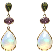 SALE Handmade Rare Natural Ethiopian Opal, Green and Purple Tourmaline Earrings 14KT Gold