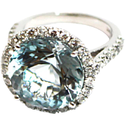SALE Natural Aquamarine and Diamond Ring in 14KT White Gold
