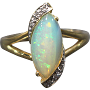 SALE Natural Austrian Opal and Diamond Ring in 14KT Yellow Gold