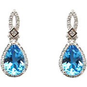 SALE Natural Diamond and Swiss Blue Topaz Earrings 14KT Gold