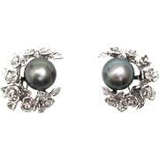 SALE Custom Made Diamond Flower Cultured Tahitian Pearls Earrings 14KT White Gold