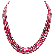 SALE 280 CT Triple Stranded Natural Rubellite Pink Tourmaline Necklace Diamond 14KT Gold