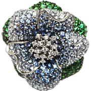 SALE 18KT White Gold Natural Diamond, Shaded Sapphire & Green Garnet Ring