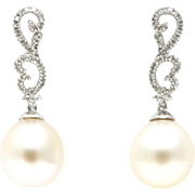 SALE Cultured South Sea Pearls and Diamonds Earrings 14KT Gold
