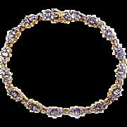 SALE 6 CT Tanzanite Bracelet 14KT Yellow Gold Bracelet