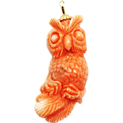 SALE Natural Angel Skin Coral Hand carved Owl 14KT Yellow Gold Pendant