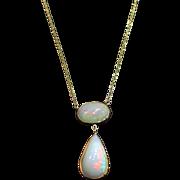 SALE 14kt Gold 10CT Natural Ethiopian Opal Handmade Bezel Set Necklace