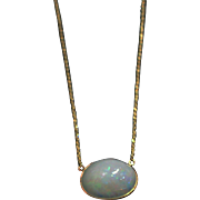 SALE 14kt Gold 13CT Natural Ethiopian Opal Handmade Bezel Set Necklace