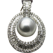 SALE Stunning 12mm Cultured South Sea Pearl Diamond 18KT White Gold Pendant