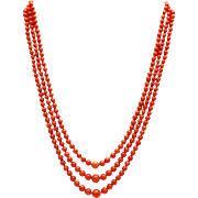 SALE Amazing Natural Triple Stranded Italian Red Coral Necklace 14KT Gold