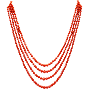 SALE Amazing Natural 4 Stranded Italian Red Coral Necklace 14KT Gold