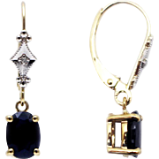SALE Natural Blue Sapphire and Diamonds Earrings 14KT Yellow Gold