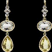 SALE Natural Aquamarine, Golden Beryl and Diamonds Earrings 14KT Yellow Gold