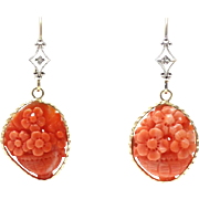 SALE Natural Hand Carved Angel Skin Coral and Diamonds Earrings 14KT Yellow Gold
