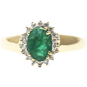 SALE 1 CT Natural Colombian Emerald and Diamond 14KT Yellow Gold Ring
