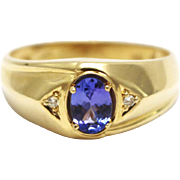 SALE Natural Tanzanite and Diamond Men's Ring in 14KT Gold