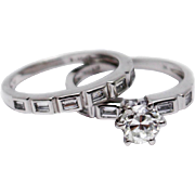 SALE 1.75CT Natural Princess Cut Diamond Engagement Ring & Wedding Band Set in 18KT White ...