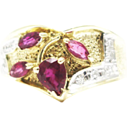 SALE Artistic Natural Ruby and Diamond Ring in 14KT Gold