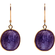 SALE 20CT Natural Tanzanite Earrings 18KT Yellow Gold