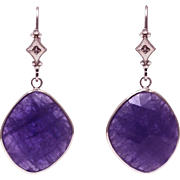 SALE 23CT Natural Tanzanite and Diamonds Earrings 14KT White Gold