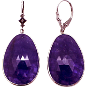 SALE 38CT Natural Tanzanite and Diamonds Earrings 14KT White Gold