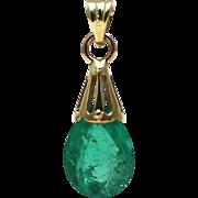 SALE Unique 3 CT Colombian Emerald 14KT Gold Pendant