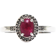 SALE Stunning Natural Ruby and Diamond Ring in 14KT White Gold