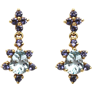SALE Natural Aquamarine and Tanzanite Earrings 14KT Gold