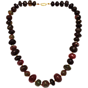 SALE 500 CT Natural Multi-Color Watermelon Tourmaline Necklace in 18KT Gold