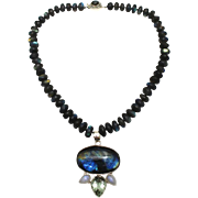 SALE Natural Labradorite, Green Amethyst and Moonstone Handmade Sterling Silver Necklace