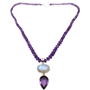 SALE 225 CT Natural Amethyst & Rainbow Moonstone Handmade Sterling Silver Necklace