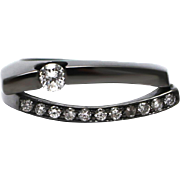 SALE Amazing Natural Diamond Tension Set Solitaire  Ring in 18KT Gold with Black Rhodium