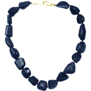 SALE Natural 390 CT  Iolite Faceted Nugget Handmade Sterling Silver Necklace